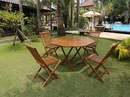 table et 4 chaises salle à manger de jardin akuda teck 1 table et 4 chaises