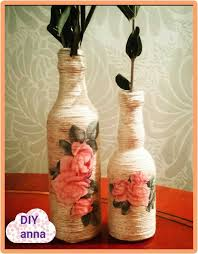 Easy Handicrafts Bottle Making Step By Elegant Decoupage Yarn Decorations Diy Craft Ideas Tutorial Uradi