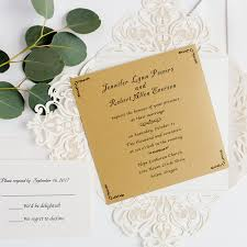 Simple Ivory Laser Cut Invitation With Craft Inner Paper EWWS223