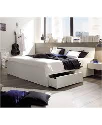hasena spazio stauraumbett mit schubladen buche weiß lackiert 140x220
