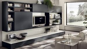 View In Gallery Elegant Gray Living Room Wall Units Offer Sleek Sophistication