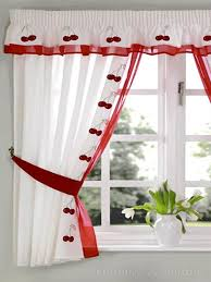 White Eyelet Kitchen Curtains by Red U0026 White Cherry Embroidered Kitchen Curtain White Cherries