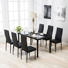 7 Piece Dining Table Set 6 Chairs Black Glass Metal Kitchen Room Furniture On