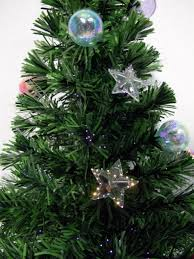 3 Fiber Optic Tabletop Christmas Tree by Multi Colour With Bauble U0026 Star Decorations Fibre Optic Tree 1 2