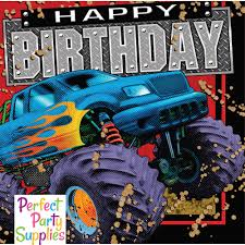 Monster Truck Happy Birthday Lunch Napkins | Perfect Party Supplies Monster Jam Birthday Party Supplies Impresionante 40 New 3d Beverage Napkins 20 Count Mr Vs 3rd Truck Part Ii The Fun And Cake Blaze Invitations Inspirational Homemade Luxury Birthdayexpress Dinner Plate 24 Encantador Kenny S Decorations Fully Assembled Mini Stickers Theme Ideas Trucks Car Balloons Bouquet 5pcs Kids 9 Oz Paper Cups 8 Top Popular 72076