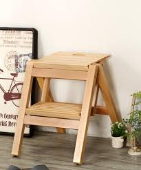 Solid Wood Folding Stool Stair Stool Ladder Chair Folding Wooden 2 Step  Stool Portable Step Stool Ladder Seat Versatile Home Kitchen Bathroom  Office ...