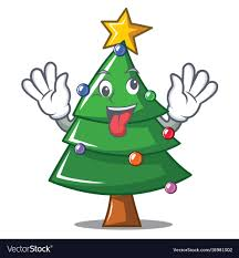 Crazy Christmas Tree Character Cartoon Vector Image