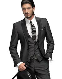 Dark Gray Groomsmen Suit Wedding Suits For Men 2015 Peaked Lapel Vintage Groom Tuxedos One Button