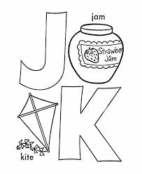 ABC Coloring Sheet Letter J K Is For Jam Kite