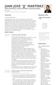 Training Quality Manager Resume Example