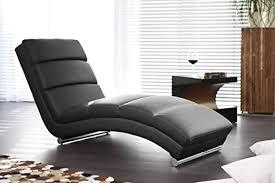 designer liege chaise longue aus kunstleder schwarz mit verchromten gestell renta relax liege zum entspannen aus hochwertigem kunstleder schwarz