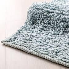 2 moderne badezimmerteppiche aus 100 hellblauer baumwolle soffio