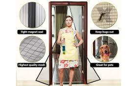 Black Magnetic Screen Door with Heavy Duty Mesh Screen and Full
