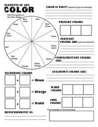 Color Theory Review Sheet Made For Studio In Art Revised From