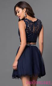 short two piece navy homecoming dress promgirl