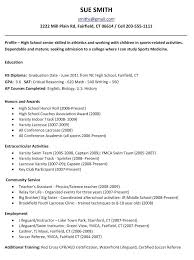 Highschool Resume Templates Fair Profile Examples High School On College Template For