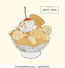 Ice Cream Sundae Sketch Vector