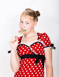 portrait of happy beautiful young with sweet candys pretty
