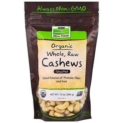 Now Foods Real Food Organic Whole Raw Cashews - Unsalted, 10oz