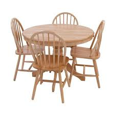 York Round Oak Dining Table And Four Dining Chairs Black ...