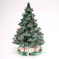 Green Ceramic Christmas Tree With Red Bulbs