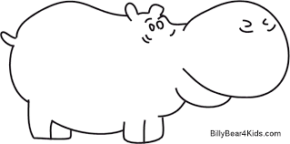 Free Coloring Pages Of Drawings Hippo Clipart