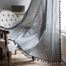 heißer verkauf grau gedruckt vorhänge für küche quaste trimmen kleine fenster vorhang halb blackout wohnzimmer schlafzimmer cortinas zc119