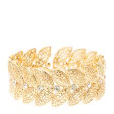 Gold Leaf Design Stretch Bracelet