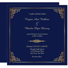 Classy Royal Blue Gold Frame Wedding Invitation