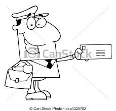 Vector Illustration Of Outlined Mail Man With Bags Hats Letter