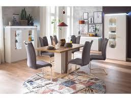 expendio esszimmer set 160 spar set 10 tlg weiß wotan eiche nb mit deckplattenbeleuchtung 6x stuhl arida feingewebe grau
