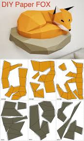 DIY Papercraft Fox 3D Paper Model On The Wall Home Decor Origami
