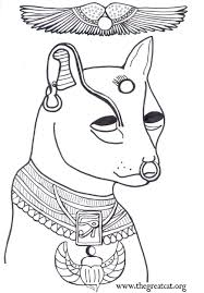 Face Of Bastet With Wings Above Coloring Book Adult Ancient Egyptian