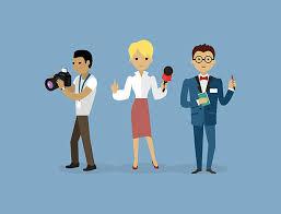 Journalists Team People Group Flat Style Vector Art Illustration
