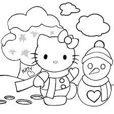 Hello Kitty Coloring Pages For Kids Xmas
