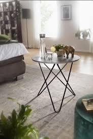 wohnling design beistelltisch in beton optik grau rund ø 60 cm couchtisch metallbeine schwarz moderner wohnzimmertisch