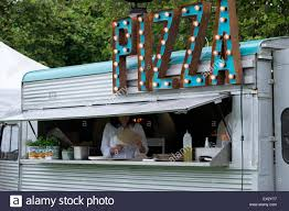 100 Mobile Pizza Truck Seller Stall Shop Festival Lights Stock Photo