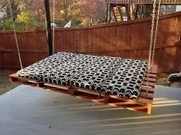 Outdoor Garden Furniture Ideas Swing Pallet Bed Black Cushion Wooden Fence