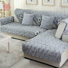 housse de canapé grise moderne bleu gris avec floral applique longue fourrure housse de