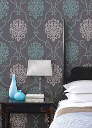 Turquoise Blue And With Bedroom Decor Idea A Feature Wall Behind The Bed Wallpaper