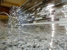 fetching grey color metal tile kitchen backsplash featuring