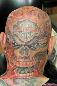 Flaming Skull Harley Davidson Back Head Tattoo