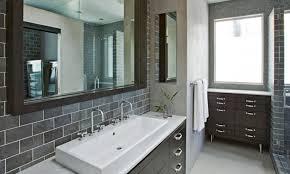 Tiles For Backsplash In Bathroom by Mosaic Tile Bathroom Backsplash Brown Painted Wooden Frame Glass