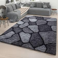 hochflor teppich stein grau weiß wohnzimmer