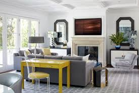 Gray Living Room With Yellow Desk