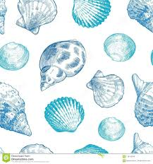 100 Sea Shell Design Shells Mless Pattern For Your Ocean Life Stock Vector