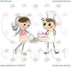 Clipart of a Stick Girl with a Basket of Flowers and Baker Boy with a Cake over Cupcakes Royalty Free Vector Illustration by Graphics RF