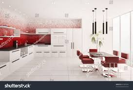 Modern White Kitchen Interior 3d Rendering Stockfoto Und Interior Modern White Kitchen Gradient Stock