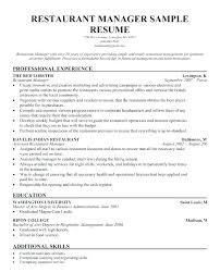 Supervisor Resume Samples Sample Zoning Restaurant Manager