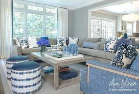 Blue Gray Living Room Sectional With Accents Walls